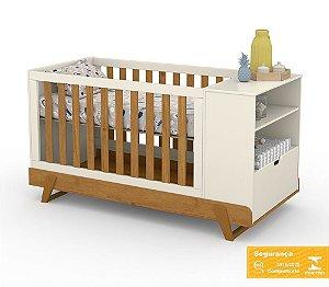 Berço de Bebê Bkids Multifuncional Off White Freijó Matic