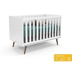 Berço de Bebê Retrô Branco Soft Eco Wood Matic