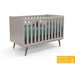 Berço de Bebê Retrô Cinza Eco Wood Matic