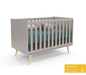 Berço de Bebê Retrô Cinza Natural Matic
