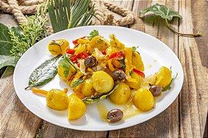 Batatas Com Pimentões e Bacalhau