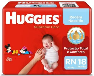FRALDA HUGGIES SUPREME CARE RN C/18 UNIDADES
