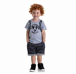 Kit 3 Bermudas Moletinho Jeans Camulado com Bolso 1 a 3