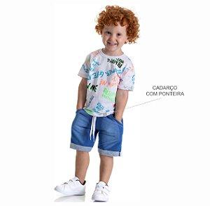 Kit 3 Bermudas Moletinho Jeans com Bolso e Cadarço 1 a 3