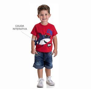 Kit 3 Camisetas Meia Malha Tubarão Interativo 1 a 3