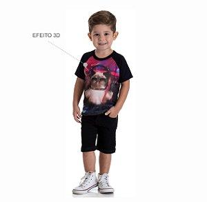 Kit 3 Camisetas Meia Malha Estampa 3D do 1 a 3