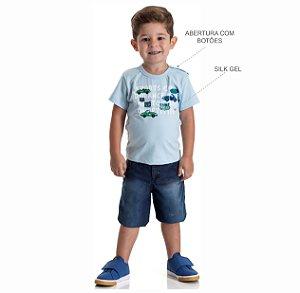 Kit 3 Camisetas Meia Malha Estampa em Gel 1 a 3