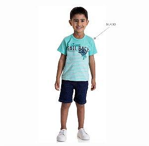 Kit 3 Camisetas Meia Malha Estampa Silk 3D 1 a 3