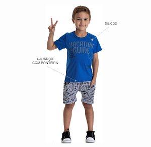 Kit 3 Conjuntos Camiseta + Bermuda Moletinho Estampada 4 a 8