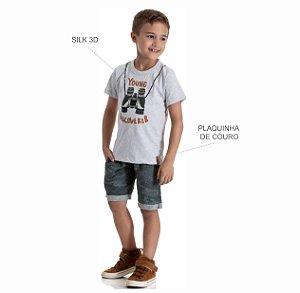 Kit 3 Bermudas Moletinho Jeans Camuflado com Bolso 4 a 8
