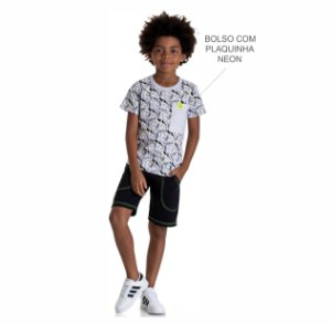 Kit 3 Camisetas Meia Malha Estampada com Bolso e Plaquinha Neon 4 a 8