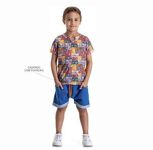 Kit 3 Bermudas Moletinho Jeans com Bolso e Cadarço 4 a 8