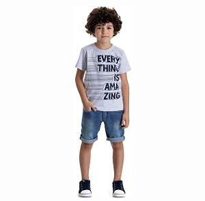 Kit 3 Camisetas Meia Malha Estampa Amazing 4 a 8