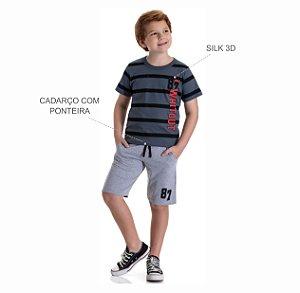 Kit 3 Camisetas Meia Malha Estampa Silk 3D 10 a 14