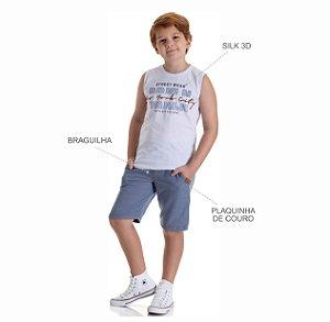 Kit 3 Conjuntos Regata + Bermuda de Moletinho Jeans 10 a 14