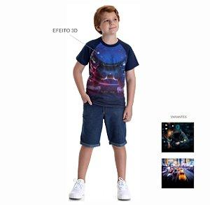 Kit 3 Camisetas Meia Malha Estampa Efeito 3D 10 a 14