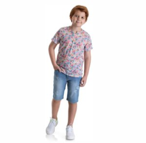 Kit 3 Camisetas Meia Malha Detalhe na Gola 10 a 14