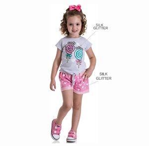 Kit 3 Shorts Moletinho Jeans Corações com Cadarço 1 a 3