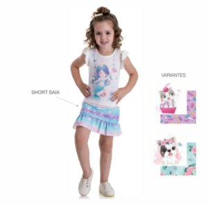 Kit 3 Conjuntos Blusa + Short Saia Cotton 1 a 3