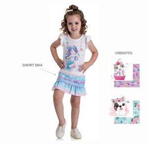 Kit 3 Short Saia Cotton Sublimado Detalhe Barra 1 a 3