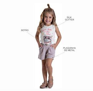 Kit 3 Shorts Moletom Lurex com Bolso e Botão 1 a 3