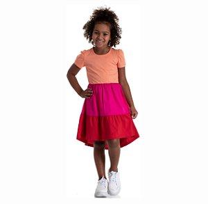Kit 3 Vestidos Meia Malha 3 Cores e Manga Bufante 4 a 8