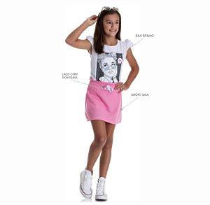 Kit 3 Short Saias Moletinho Jeans com Laço 10 a 14