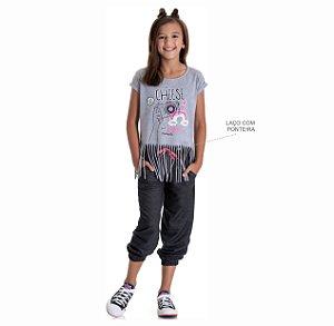 Kit 3 Calças Joggers Moletinho Jeans com Cadarço 10 a 14