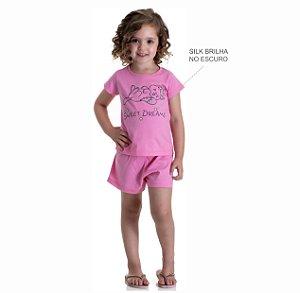 Kit 3 Pijamas Meia Malha Brilha no Escuro Meninas 1 a 3