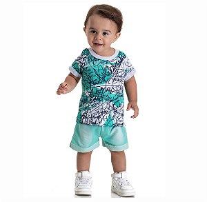 Kit 3 Conjuntos Camiseta  + Bermuda Moletinho Jeans P a G