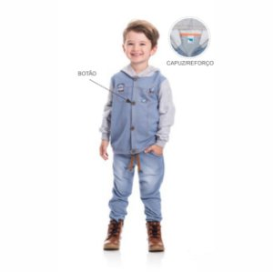 Kit 3 Jaquetas Moletinho Jeans com Capuz 1/3