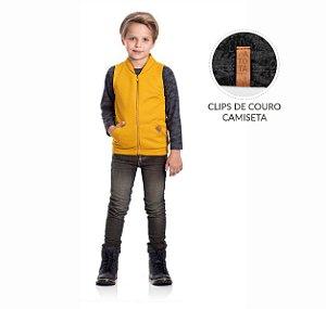 Kit 3 Camisetas Meia Malha Com Clips Couro 4/8