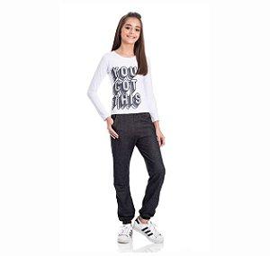 Kit 3 Calças Moletinho Jeans Com Bolso 10/14