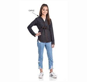 Kit 3 Parkas Jeans Com Capuz 10/14