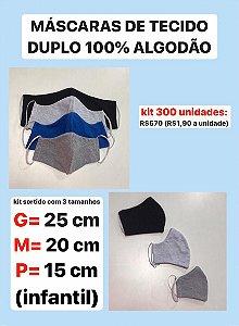 Kit 300 unidades máscaras tecido duplo
