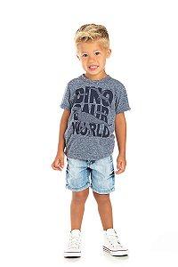 Kit 3 Camisetas Meia Malha Dino World 1 a 3