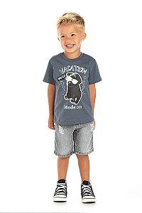 Kit 3 Camisetas Meia Malha Vacation Dog 1 a 3