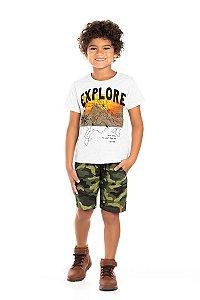 Kit 3 Camisetas Meia Malha Explore 4 a 8