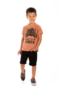 Kit 3 Camisetas Meia Malha Free 4 a 8