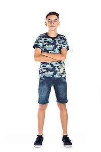 Kit 3 Camisetas Meia Malha Camuflada Detalhe Estampado 10 a 14
