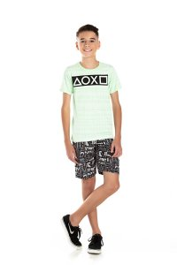 Kit 3 Camisetas Meia Malha Tie Dye Formas Geométricas 10 a 14