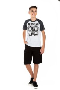 Kit 3 Camisetas Meia Malha Estampada Manga Raglan 10 a 14