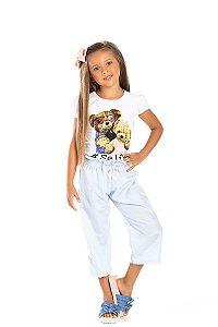 Kit 3 Blusas Cotton Selfie Ursinhos Manga Princesa 4 a 8