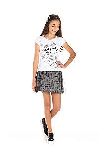 Kit 3 Shorts Saia Tule Glitter e Meia Malha Love 10 a 14