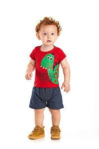 Kit 3 Camisetas Meia Malha Hello Dino Estampa 3D P a G