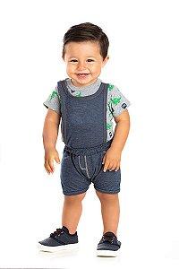 Kit 3 Macaquinhos Meia Malha e Moletinho Jeans P a G