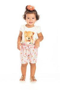 Kit 3 Bodies Cotton Urso Rosas P a G