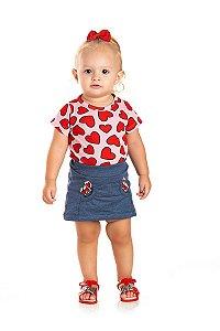 Kit 3 Saias Moletinho Jeans com Bolso e Estampa Gel Corações P a G