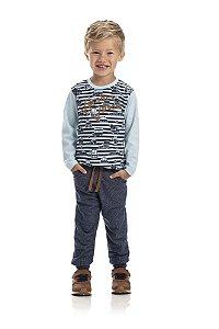 Kt 3 Calças Moletinho Jeans com Cadarço 1 a 3