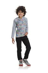 Kit 3 Camisetas Meia Malha Skate com Capuz 4 a 8